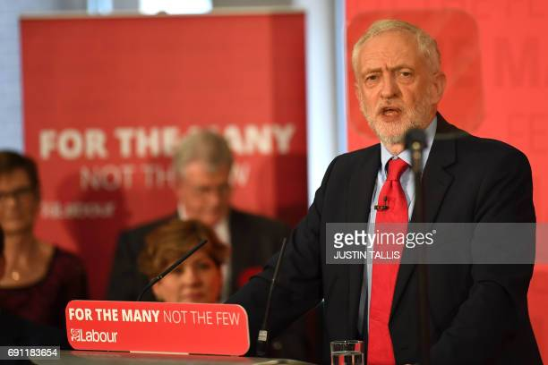 Opposition Labour Party leader Jeremy Corbyn speaks at an election campaign event in Basildon east of London on June 1 2017 / AFP PHOTO / Justin...