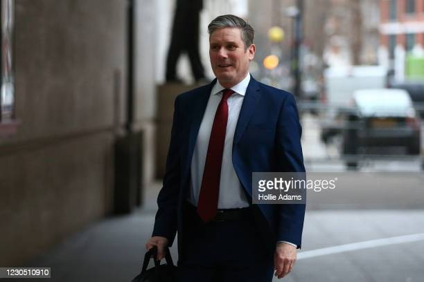 Opposition Labour party leader Keir Starmer arriving the BBC for his appearance on The Andrew Marr Show on January 10, 2021 in London, England.