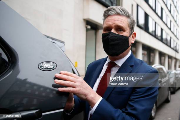 Opposition Labour party leader Keir Starmer leaves the BBC after his appearance on The Andrew Marr Show on January 10, 2021 in London, England....
