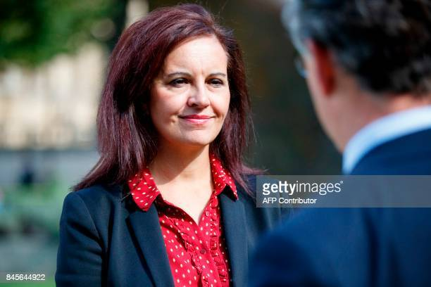 Opposition Labour party MP Caroline Flint gives an interview outside Houses of Parliament in London on September 11 2017 MPs hold their first vote...