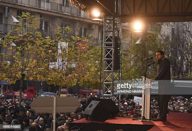 Opposition lawmaker Albin Kurti delivers a speech during a demonstration bysupporters of opposition party in downtown Pristina on November 28 2015...