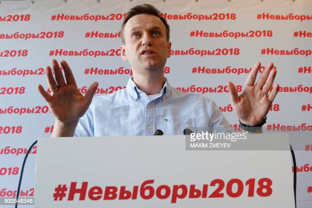 Opposition leader Alexei Navalny holds a briefing on Russia's presidential election at his office in Moscow on March 18 2018 / AFP PHOTO / Maxim...