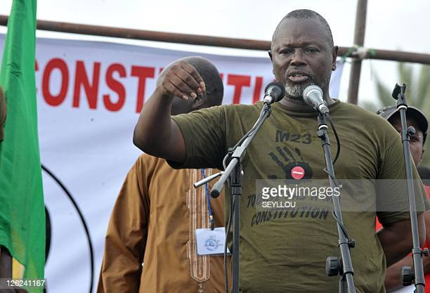 Opposition leader Alioune Tine speaks during an opposition rally in Dakar on September 23 2011 Several hundred Senegalese opposition supporters...
