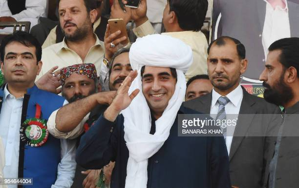 Opposition leader and Pakistan People's Party chairman Bilawal Bhutto Zardari waves to supporters at a public rally in Quetta on May 4 2018
