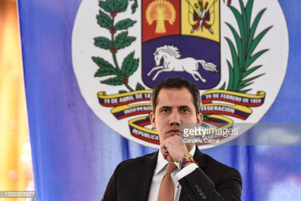 Opposition leader and reelected president of the National Assembly by anti-Maduro lawmakers majority Juan Guaido arrives to a National Assembly...