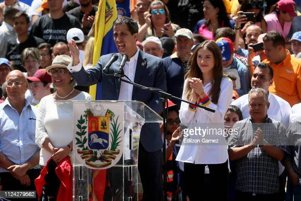 Opposition leader and self declared acting president of Venezuela Juan Guaido delivers a speech during a demonstration at avenida Francisco De...