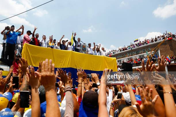 Opposition leader and Self proclaimed Interim President of Venezuela Juan Guaidó speaks during a Citizens' Assembly on March 16 2019 in Valencia...