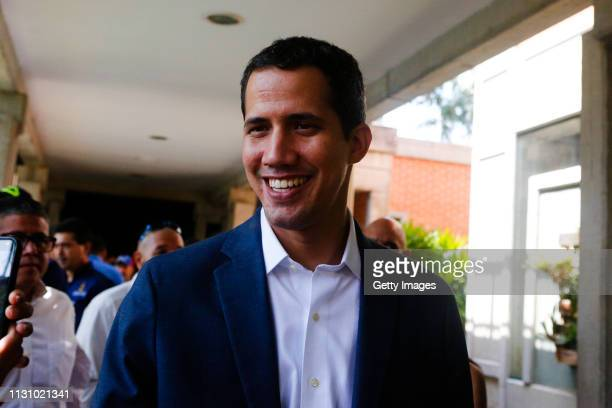 Opposition leader and Self proclaimed Interim President of Venezuela Juan Guaidó arrives for an interview on March 16, 2019 in Valencia, Venezuela....