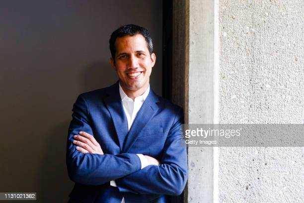 Opposition leader and Self proclaimed Interim President of Venezuela Juan Guaidó poses for an interview on March 16, 2019 in Valencia, Venezuela....