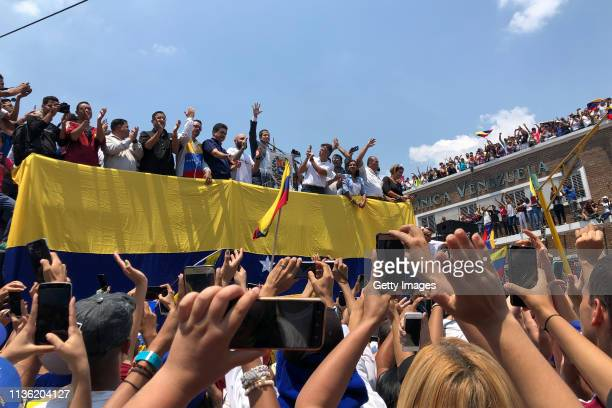 Opposition leader and Self proclaimed Interim President of Venezuela Juan Guaidó speaks during a Citizens' Assembly on March 16, 2019 in Valencia,...