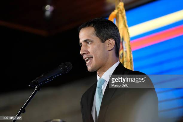 Opposition leader and selfproclaimed interim president of Venezuela Juan Guaidó speaks during the presentation of his Government plan called Plan...