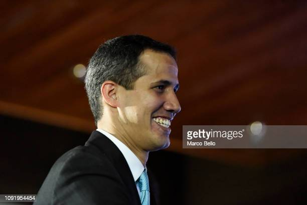 Opposition leader and selfproclaimed interim president of Venezuela Juan Guaidó arrives for the presentation of his Government plan called Plan País...