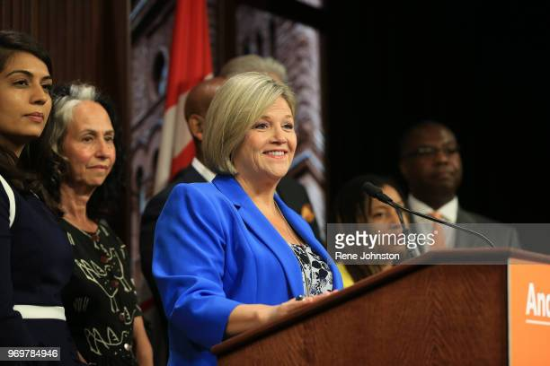 TORONTO ON Opposition Leader Andrea Horwath gives first presser with elected NDP members at Queens Park on Friday June 8 2018