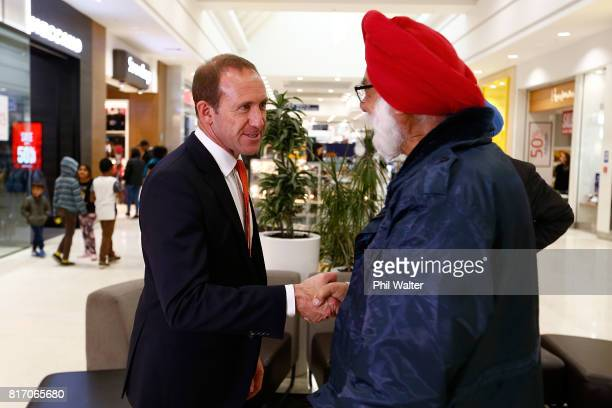 Opposition Leader Andrew Little is seen on the campaign trail at the LynnMall Shopping Centre on July 18 2017 in Auckland New Zealand The NZ Labour...