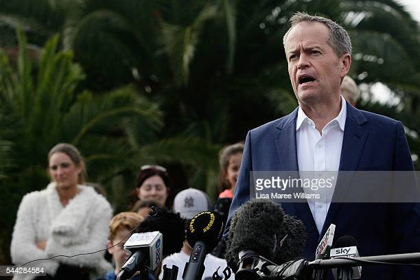 Opposition Leader Australian Labor Party Bill Shorten addresses the media at Maribyrmong on July 3 2016 in Melbourne Australia The prospect of a hung...