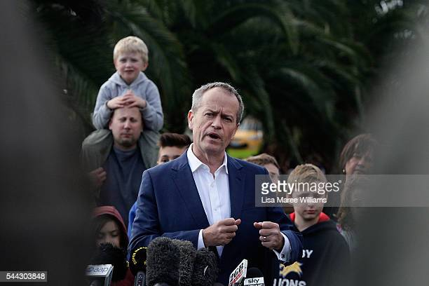 Opposition Leader Australian Labor Party Bill Shorten addresses the media at the Boathouse at Maribyrmong on July 3 2016 in Melbourne Australia The...
