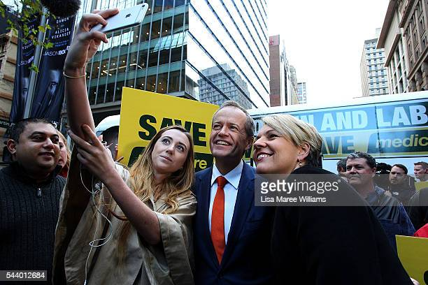 Opposition Leader Australian Labor Party Bill Shorten and Deputy Leader of the Opposition Tanya Plibersek take photos with supporters during a...