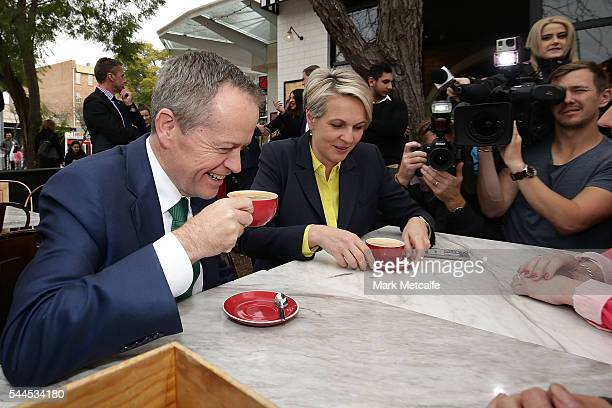 Opposition Leader Australian Labor Party Bill Shorten and Deputy Leader of the Opposition Tanya Plibersek talk at a cafe outside a shopping centre on...