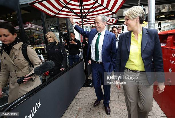 Opposition Leader Australian Labor Party Bill Shorten and Deputy Leader of the Opposition Tanya Plibersek visit a shopping centre on July 4 2016 in...