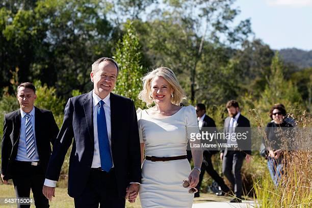 Opposition Leader Australian Labor Party Bill Shorten and wife Chloe Shorten attend a press conference on June 30 2016 in Logan Australia Bill...
