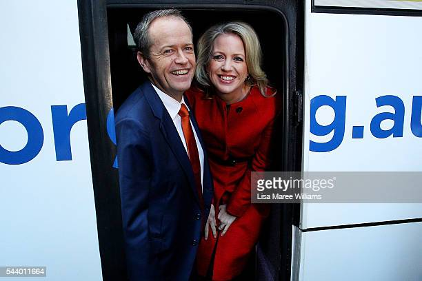 Opposition Leader Australian Labor Party Bill Shorten and wife Chloe Shorten board the campaign bus following a Medicare Rally at Martin Place on...