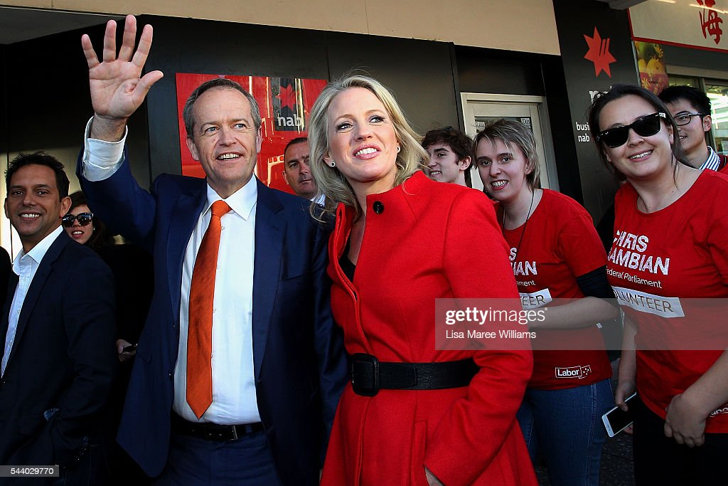Opposition Leader, Australian Labor Party Bill Shorten and wife Chloe Shorten greet locals during a street walk in Hurstville on July 1, 2016 in Sydney, Australia. Bill Shorten is campaigning heavily on Medicare, promising to make sure it isn't privatised if the Labor Party wins the Federal Election on July 2.