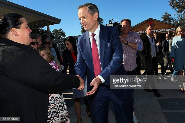 Opposition Leader Australian Labor Party Bill Shorten and wife Chloe Shorten visit a polling booth at Colyton on July 2 2016 in Sydney Australia...