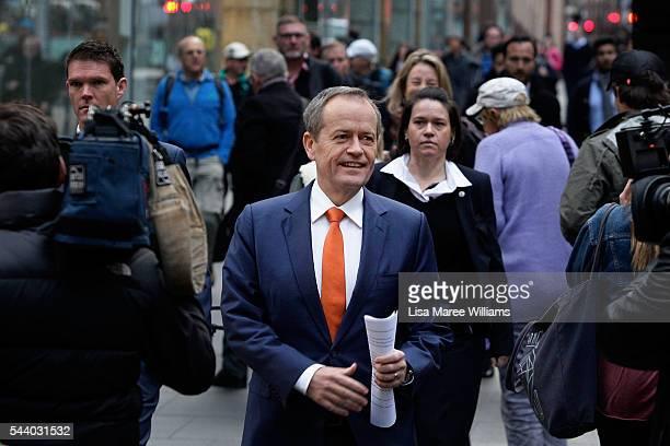 Opposition Leader Australian Labor Party Bill Shorten arrives at a Medicare Rally at Martin Place on July 1 2016 in Sydney AustraliaBill Shorten is...