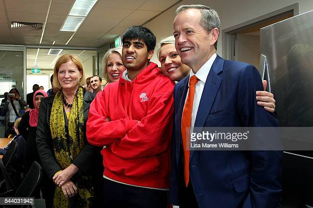 Opposition Leader Australian Labor Party Bill Shorten Deputy Leader of the Opposition Tanya Plibersek and Chloe Shorten visit Northcott disability...