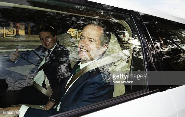 Opposition Leader Australian Labor Party Bill Shorten leaves a press conference after visiting a shopping centre on July 4 2016 in Penrith Australia...