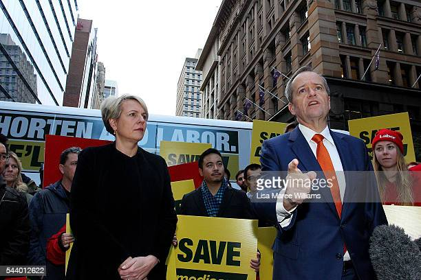 Opposition Leader Australian Labor Party Bill Shorten speaks as Deputy Leader of the Opposition Tanya Plibersek looks on during a Medicare Rally at...