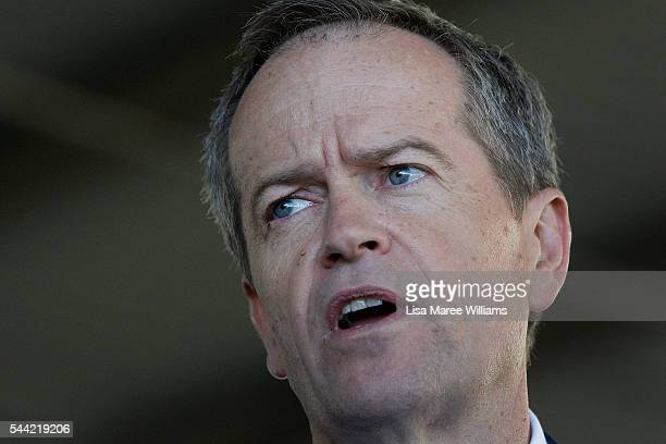 Opposition Leader Australian Labor Party Bill Shorten speaks to the media during a visit to a polling booth at Colyton on July 2 2016 in Sydney...
