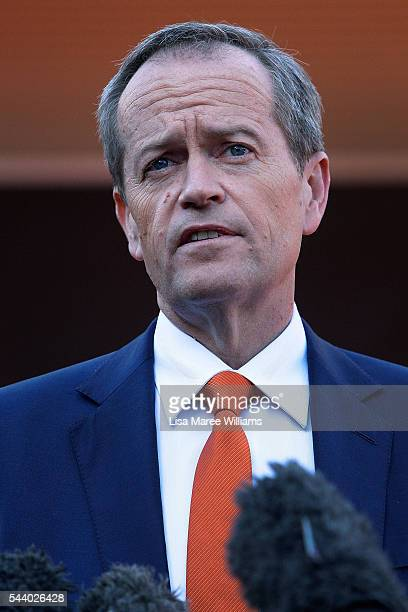 Opposition Leader Australian Labor Party Bill Shorten speaks with the media during a visit to the Tharawal Aboriginal Corporation Child and Family...