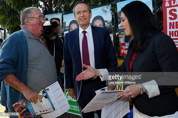 Opposition Leader Australian Labor Party Bill Shorten visits a polling booth at Colyton on July 2 2016 in Sydney Australia After 8 official weeks of...