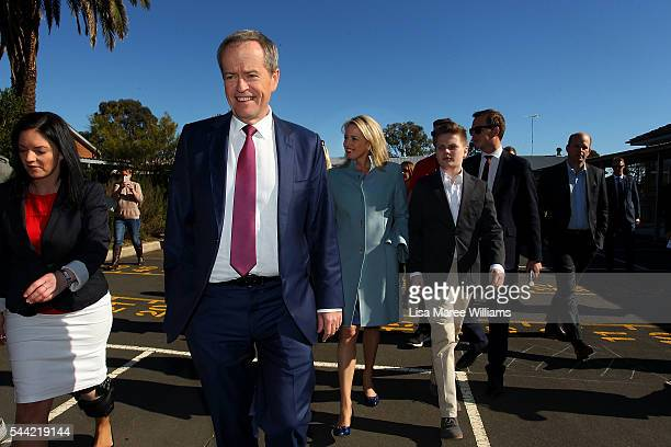 Opposition Leader Australian Labor Party Bill Shorten wife Chloe Shorten and Rupert visit a polling booth at Colyton on July 2 2016 in Sydney...