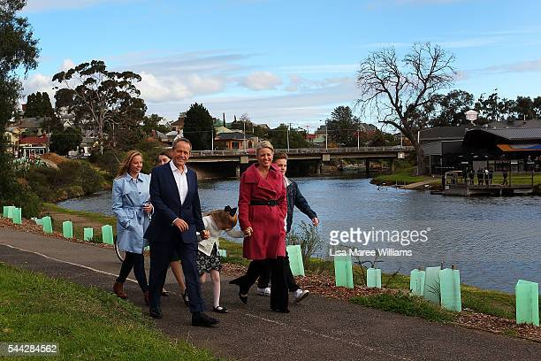 Opposition Leader Australian Labor Party Bill Shorten wife Chloe Shorten and family Alexandra Georgette Clementine and Rupert arrive at Maribyrmong...