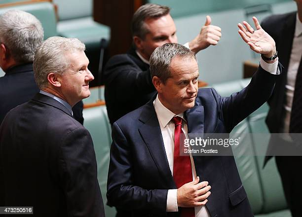 Opposition leader Bill Shorten acknowledges supporters in the gallery prior to delivering his budget reply speech on May 14 2015 in Canberra...