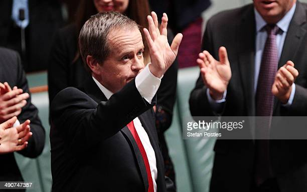 Opposition leader Bill Shorten acknowledges the crowd after delivering his budget reply speech calling the budget 'a budget based on a myth' on May...