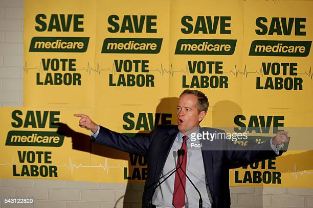 Opposition Leader Bill Shorten addresses the Labor volunteers save medicare rally at the Eley Park Community Centre in Blackburn South Victoria...