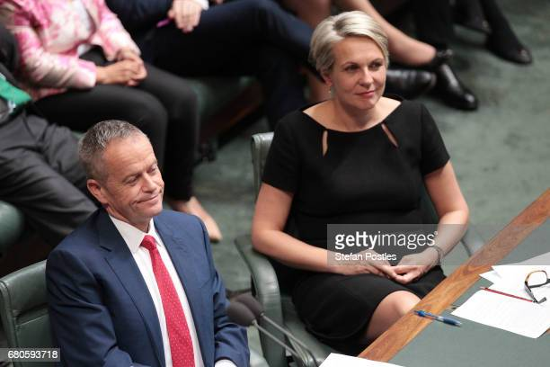 Opposition Leader Bill Shorten and Opposition Deputy Leader Tanya Plibersek listen to Treasurer Scott Morrison deliver the budget in the House of...