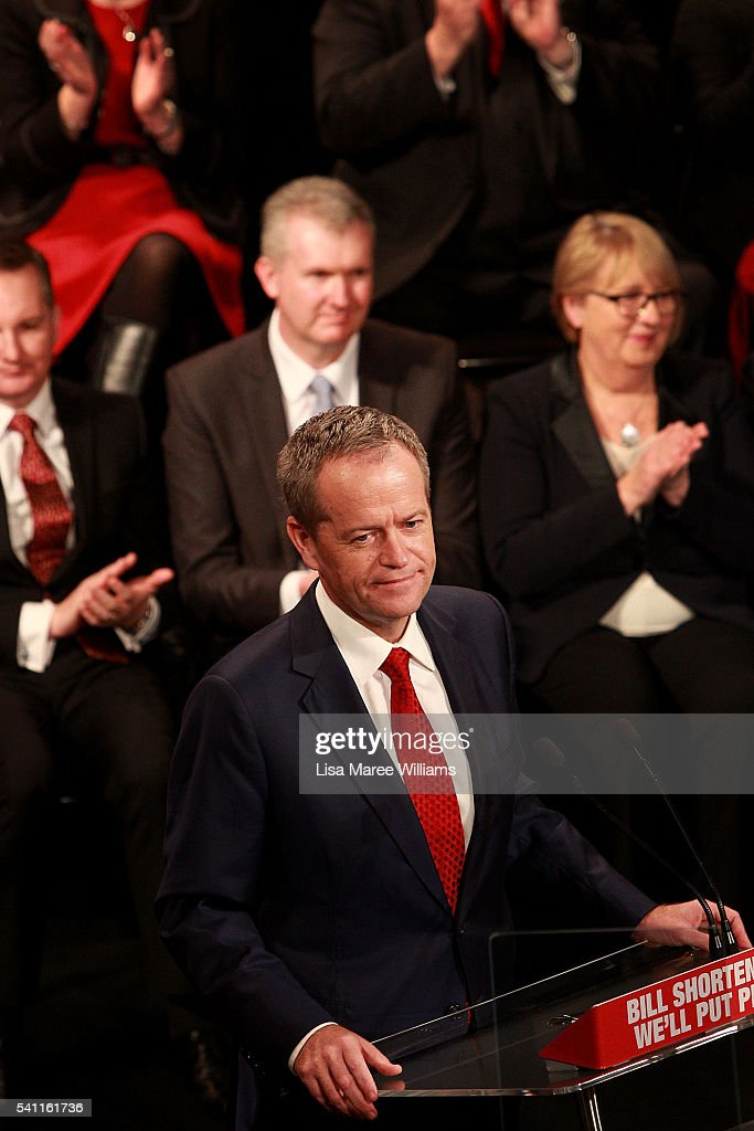 Opposition Leader Bill Shorten delivers a speech during the Australian Labor Party 2016 Federal Campaign Launch at the Joan Sutherland Performing Arts Centre on June 19, 2016 in Sydney, Australia. Labor leader Bill Shorten has pledged a $257 million jobs plan with tax breaks for businesses who hire mature age workers, people under 25 or mothers returning to work.