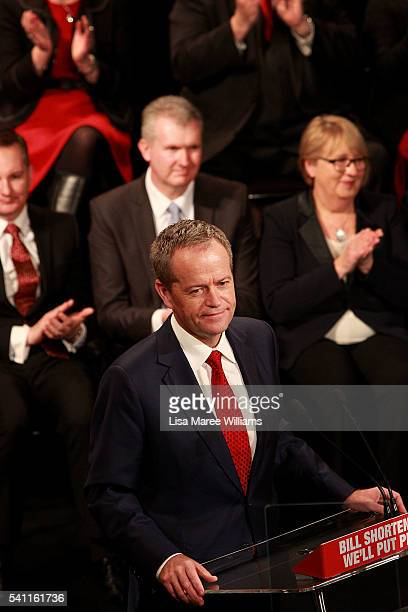 Opposition Leader Bill Shorten delivers a speech during the Australian Labor Party 2016 Federal Campaign Launch at the Joan Sutherland Performing...
