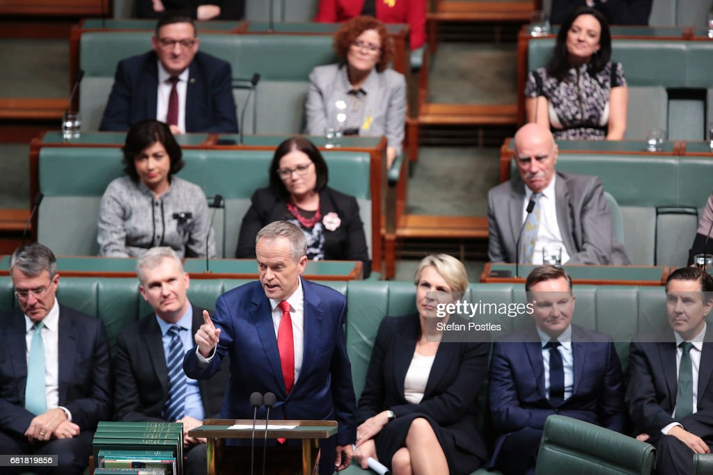 Opposition Leader Bill Shorten delivers his budget reply address in the House of Representatives at Parliament House on May 11, 2017 in Canberra, Australia. The Turnbull Government's second budget has delivered additional funds to education, a plan to assist first home buyers, along with a crackdown on welfare.