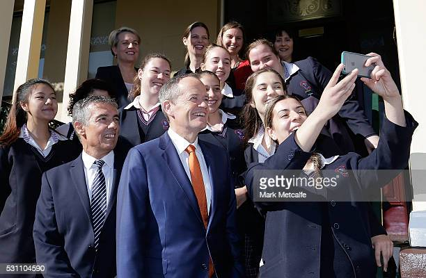 Opposition Leader Bill Shorten Deputy Opposition Leader Tanya Plibersek and Labor's candidate for Reid Angelo Tsirekas pose for a selfie with...