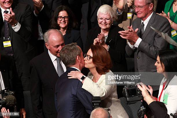 Opposition Leader Bill Shorten is welcomed by Julia Gillard during the Australian Labor Party 2016 Federal Campaign Launch at the Joan Sutherland...
