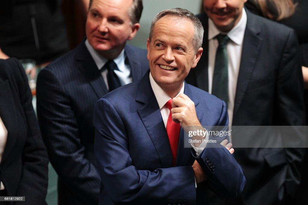 Opposition Leader Bill Shorten prepares to deliver his budget reply address in the House of Representatives at Parliament House on May 11, 2017 in Canberra, Australia. The Turnbull Government's second budget has delivered additional funds to education, a plan to assist first home buyers, along with a crackdown on welfare.