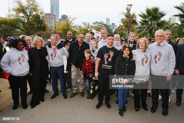 Opposition Leader Bill Shorten Prime Minister Malcom Turnbull and his wife Lucy Turnbull join former Bombers legend Michael Long for The Long...
