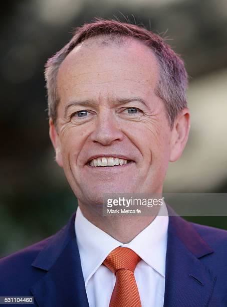 Opposition Leader Bill Shorten smiles at Domremy College on May 13 2016 in Sydney Australia Leader of the Australian Labor Party Bill Shorten is in...