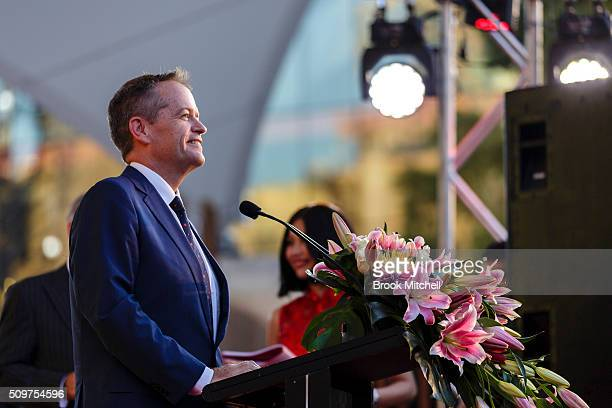 Opposition leader Bill Shorten speaks at the Chinese New Year Lantern Festival at Tumbalong Park on February 12 2016 in Sydney Australia The lighting...