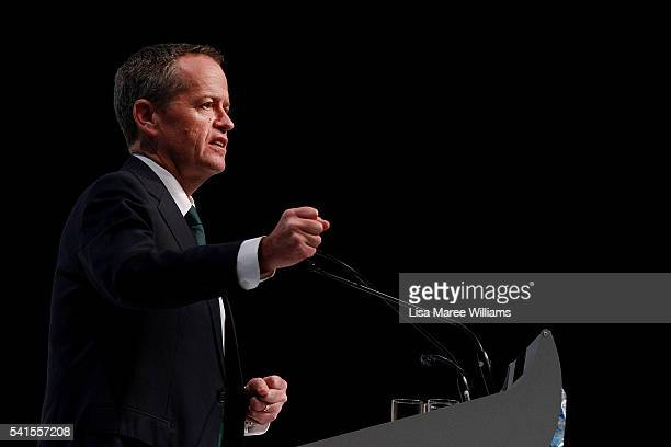 Opposition Leader Bill Shorten speaks during the National Catholic Education Commission Conference at Perth Convention and Exhibition Centre on June...